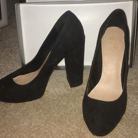 Black Suede Thick Heels Pumps | Poshmark